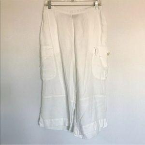Flax Linen Wide Leg Capri Lagenlook • S • VGUC